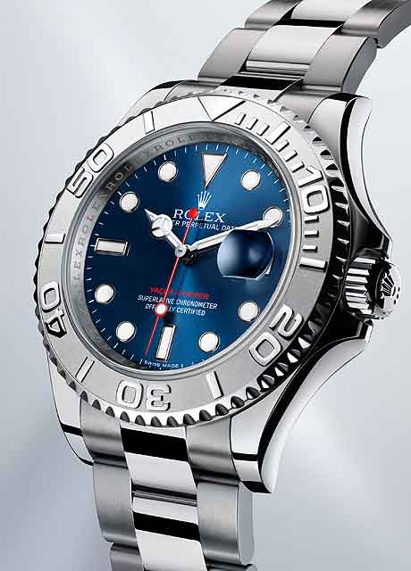 Close-Up  Rolex Yacht-Master in Rolesium Replica Watches. The charming blue  dial ... 72e5180e049