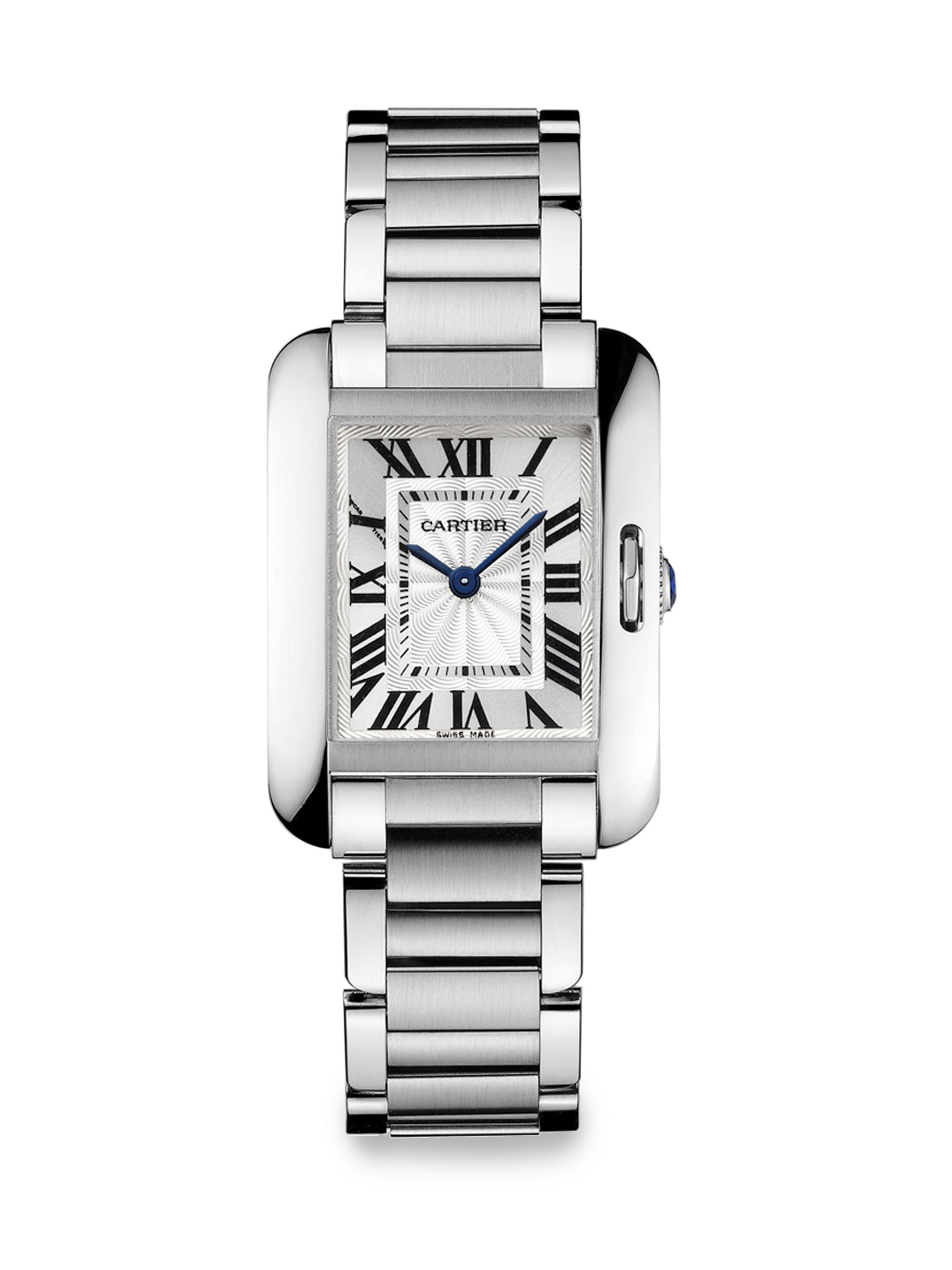 ladies steel dial cartier tank watch watches small solo stainless brands quartz silver bucherer