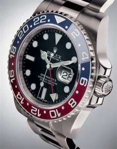 The most eye-catching feature of this red and blue bezel fake Rolex GMT-Master II watch should be the red and blue ceramic bezel, with firm quality, which just accord with the requirements of outstanding performance and reliable functions.