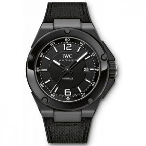 Decorating with the white scale and pointers, this all-black replica IWC watch shows a clear time display.