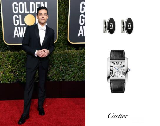 The Cartier Tank with black leather strap is very elegant.