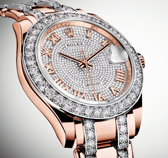 The densely paved diamonds and precious rose gold make this timepiece very expensive.