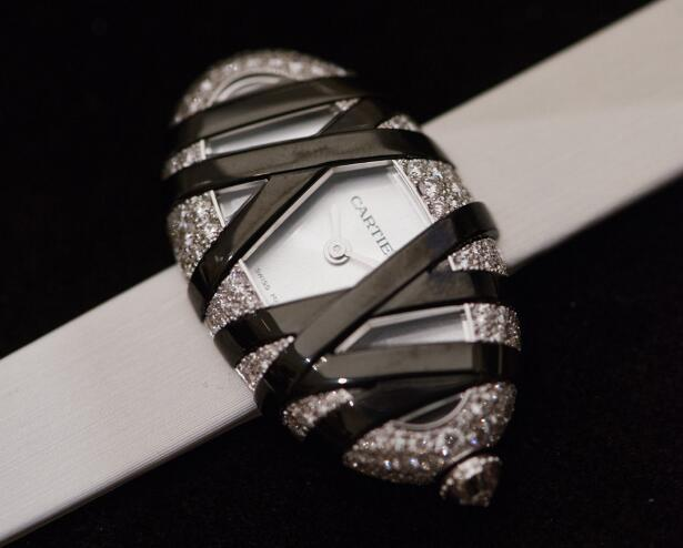 The most eye-catching part of this Cartier is the oversized black Roman numerals.
